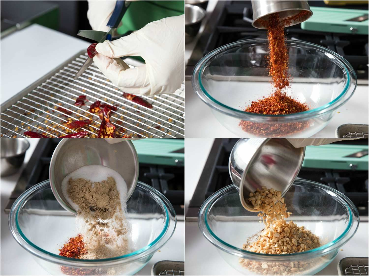 Dried chili peppers being de-seeded, dried chilies ground into flakes, spices added to dried chilies, peanuts added to dried chilies