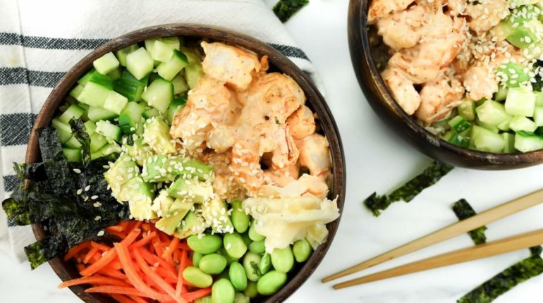 Spicy Shrimp Sushi Bowls - Slender Kitchen