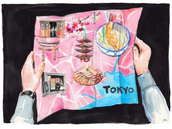 An illustrated map of Tokyo, marked with Tokyo landmarks, restaurant facades, and dishes, held between two hands
