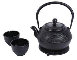 Black Cast Iron Tea Kettle Set for 2 – Contemporar…