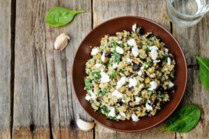 Roasted Eggplant and Quinoa Salad with Feta