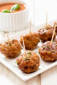 Fiesta Meatballs with Ancho Dipping Suace – Angost…
