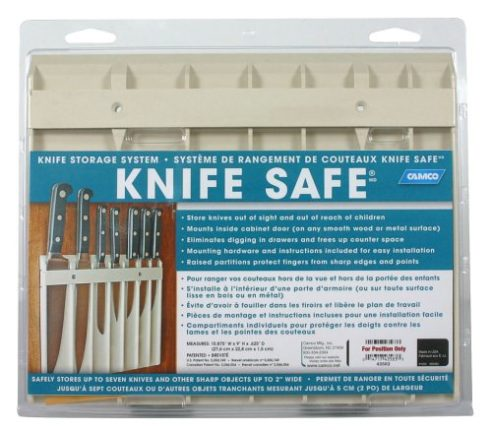 """Camco Knife Safe - Securely Mounts on Wood or Metal Surfaces, Holds 7 Cooking and Carving Knives, Organize and Store Knives While Creating Space - (9""""..."""