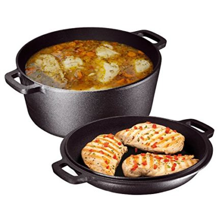 Heavy Duty Pre-Seasoned 2 In 1 Cast Iron Double Dutch Oven and Domed S...