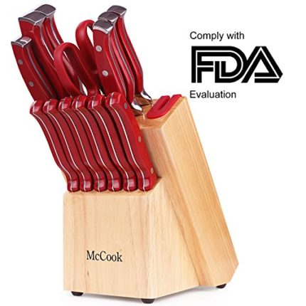 McCook MC24 14 Pieces FDA Certified High Carbon Stainless Steel kitchen knife set with Wooden Block, All-purpose Kitchen Scissors and Built-in Sharpen...