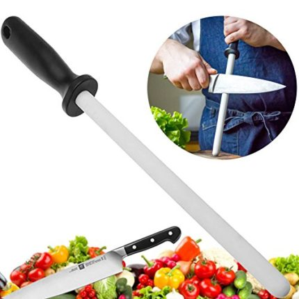 10 inch Ceramic Knife Sharpener Rod with Good Grips ABS Handle - Sharpen the Edge Quickly & Keep the Edge from Folding Over - Professional Zirconia Sh...