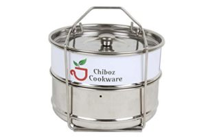 Chiboz Cookware 8 Qt XL Stackable Steamer Insert Pans with Sling Handle compatible with Instant Pot 8 quart