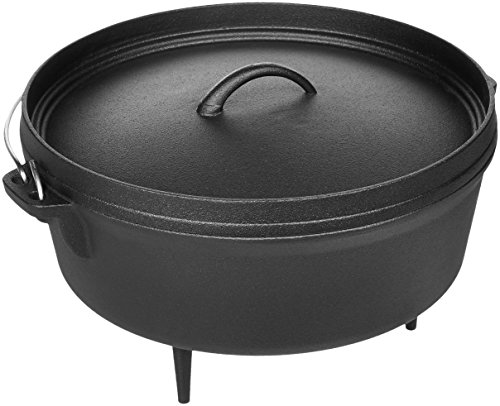 AmazonBasics Pre-Seasoned Cast Iron Camp Dutch Ove...