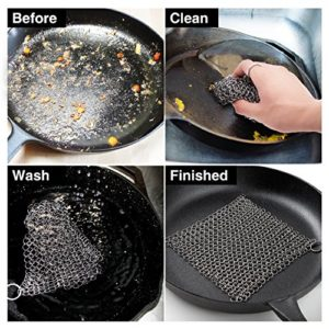 Thuctek Cast Iron Cleaner, XL 8×8 Chainmail Scrubb…