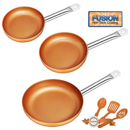 Frying Pan Set, Non-stick Chef Pan, Copper Style Pan with St...