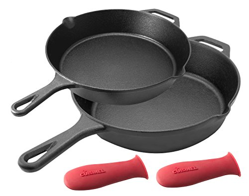 Pre-Seasoned Cast Iron Skillet 2-Piece Set (10-Inch and 12-I...