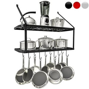 VDOMUS Shelf Pot Rack Wall Mounted Pan Hanging Rac…