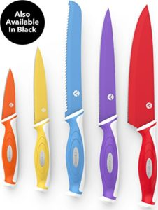 Vremi 10 Piece Colorful Knife Set – 5 Kitchen Knives with 5 Knife Sheath Covers – Chef Knife Sets with Carving Serrated Utility Chef's and Paring Kniv…