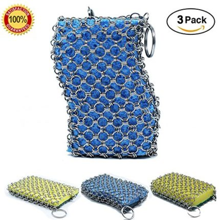 3-PACK Stainless Steel Cast Iron Cleaner Chainmail...