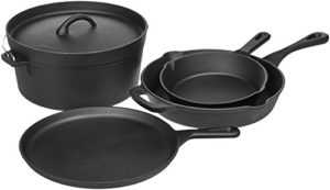 AmazonBasics Pre-Seasoned Cast Iron 5-Piece Cookwa...