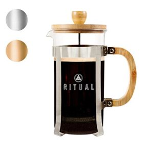 Ritual French Coffee Press, Bamboo Wood, Borosilicate Glass, and Stain…