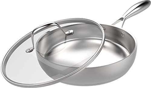Stainless Steel Skillet with Glass Cover - 12 Inch - Inducti...