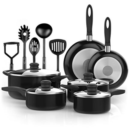 Vremi 15 Piece Nonstick Cookware Set; 2 Saucepans ...