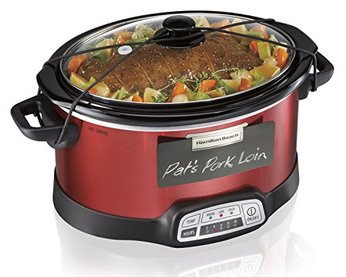 Hamilton Beach Programmable Slow Cooker, 5-Quart with Lid Latch Strap ...