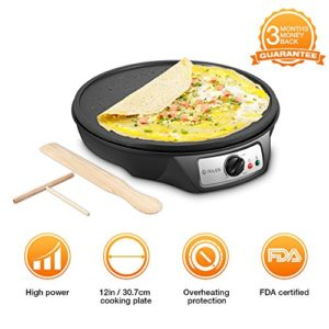 Electric Crepe Maker, iSiLER 12″ Electric Nonstick…