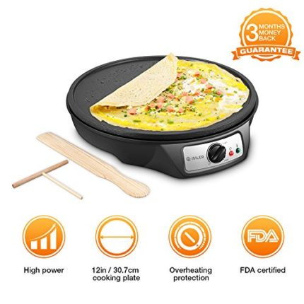 "Electric Crepe Maker, iSiLER 12"" Electric Nonstick..."
