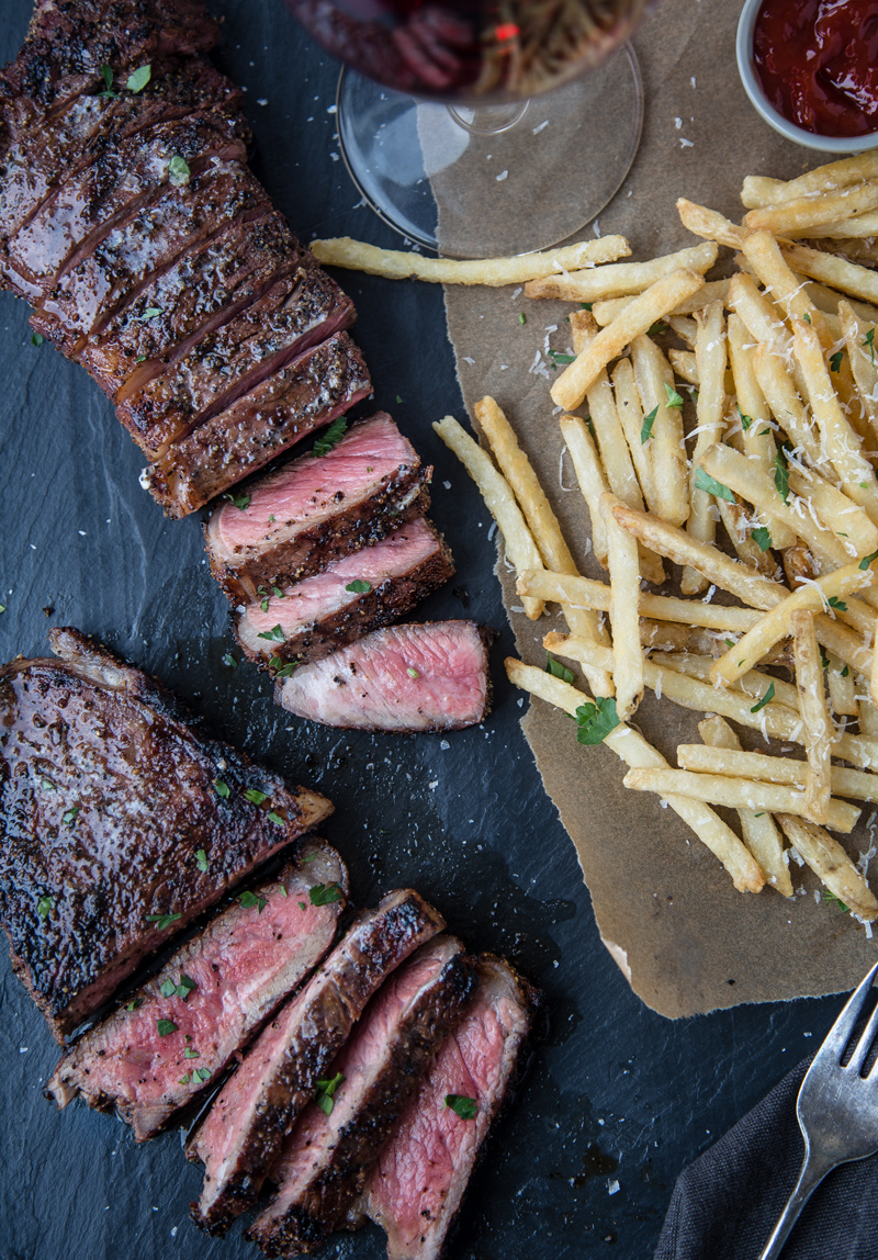 Grilled Coffee Dry Rubbed NY Strip Steak