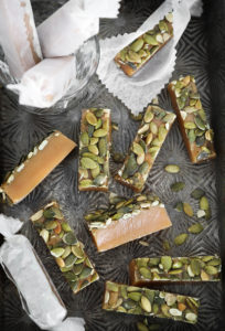 Bourbon Maple Pumpkin Seed Caramels