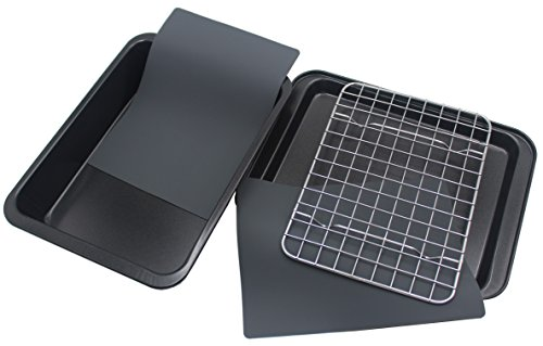 Checkered Chef Toaster Oven Pans - 5 Piece Nonstick Bakeware Set Includes Baking Trays, Rack and Sil...