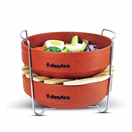 Dunsten Stackable Steamer Insert Pans for Instant Pot (6 and 8 Quart), Food Safe Stainless Steel Handles, Microwaveable Stoneware Pans | Vegetables, Rice, Meat, Pasta | Healthy Cooking