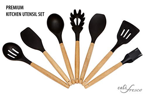 Kitchen Utensil Set; 7-Non-stick Silicone and Wooden Cooking Utensils/Serving Gadgets, Non-scratch Tools Protect Your Cookware; Best Housewarming Gift/Chef Tool Set. Spatula Spoons + Accessories