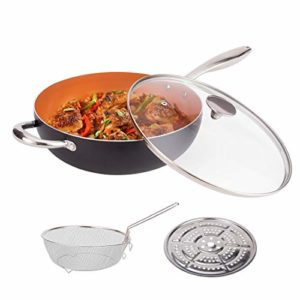 MICHELANGELO 5 Quart Nonstick Wok with Lid, Ultra Nonstick Wok Pan with Lid, Fry Basket&Steam Rack, …