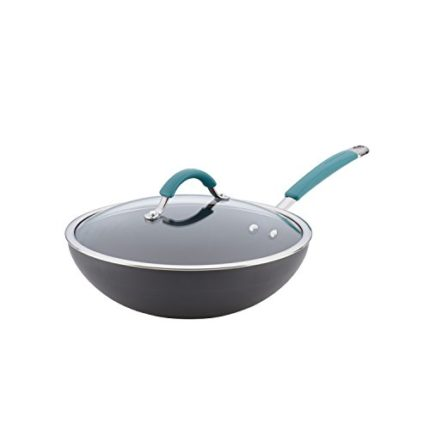 Rachael Ray Cucina Hard-Anodized Nonstick Covered Stir Fry Pan, 11-Inch, Gr...