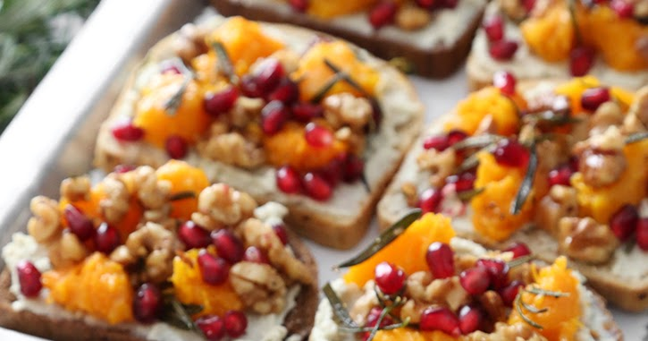 Butternut Blue Cheese Crostini with Fried Rosemary and Walnuts