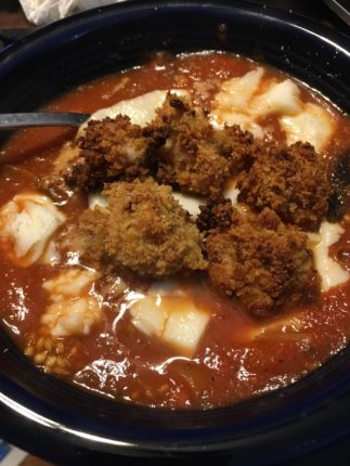 Chicken and eggplant parm soup : soup
