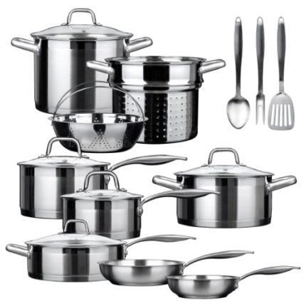 Duxtop SSIB-17 Professional 17 piece Stainless Steel Induction Cookware Set, Impact-bonded Technolog...