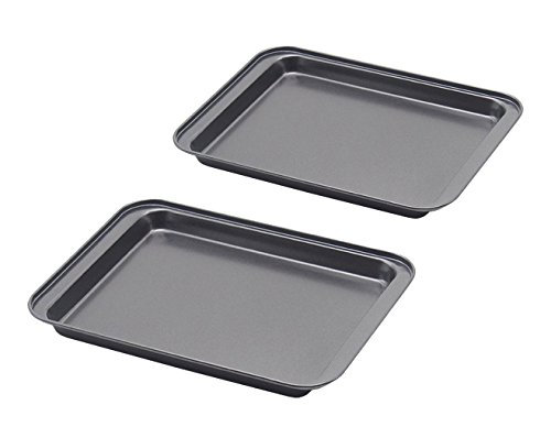 Nonstick Small Baking Sheet 2 Pack, SS&CC 8 Inch Carbon Steel Half Toaster Oven Pan Tray Replacement...