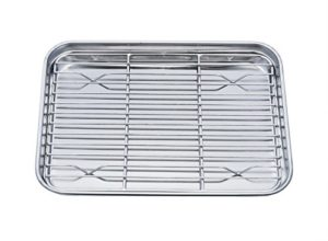 TeamFar Toaster Oven Pan Tray with Cooling Rack, Stainless Steel Toaster Ovenware broiler Pan, Compa…