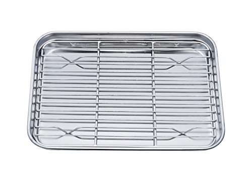 TeamFar Toaster Oven Pan Tray with Cooling Rack, Stainless Steel Toaster Ovenware broiler Pan, Compa...