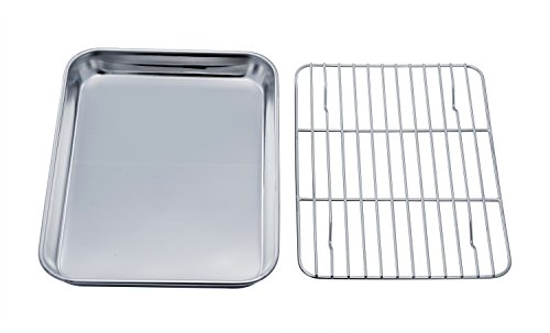 TeamFar Toaster Oven Tray and Rack Set, Stainless Steel Toaster Oven Pan Broiler Pan, Compact 7''x9'...