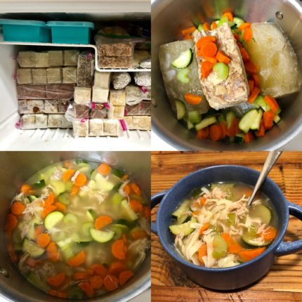 Pulled together a quick chicken noodle soup from stock and chicken i had ma...