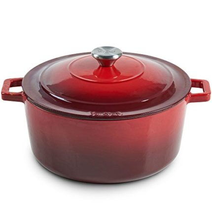 VonShef Cast Iron Round Dutch Oven Pot Casserole Dish, Naturally Non Stick Stain and Odor Resistant,...