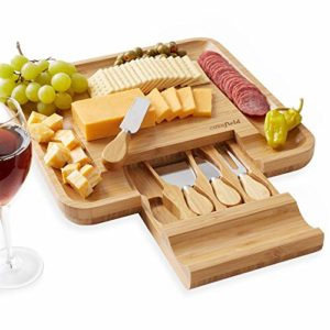 Casafield Organic Bamboo Cheese Cutting Board & Knife Gift Set – Wooden Serving Tray for Charcuterie…