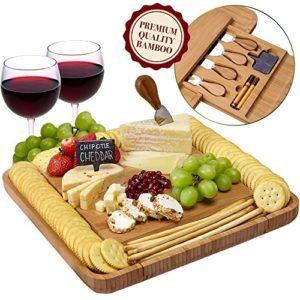 Cheese Board and Knife Set – Natural Crafted Bamboo Wood for Slicing Cheese | Hidden Drawer with Utensils.