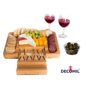 DECOMIL – Bamboo Cheese Board with Knife Set – Rectangle Wooden Server has Extra Serving on Edges fo…
