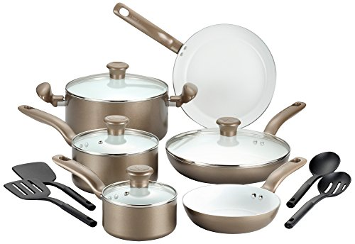 T-fal 2100088763 14 Piece Ceramic Dishwasher Safe Nonstick PTFE PFOA & Cadmium Free Cookware Set, Go...