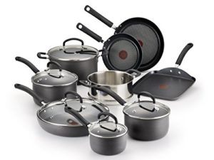 T-fal Hard Anodized Cookware Set, Nonstick Pots and Pans Set, 14 Piece, Thermo-Spot Heat Indicator, …