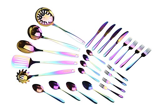 WaxonWare Stainless Steel Kitchen Tools and Flatware Cutlery (25-Piece Set) Complete Utensil & Silve...