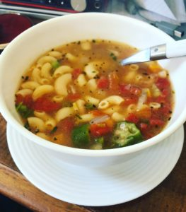 Spicy tomato, noodle & vegetable soup. My own creation.