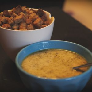 Creamy Mushroom Soup and Croutons
