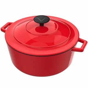 Vremi Enameled Cast Iron Dutch Oven Pot with Lid – 6 Quart Capacity for Preparing Low and Slow Cooki…